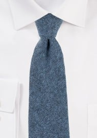 Textured Cotton Skinny Tie in Denim Blue