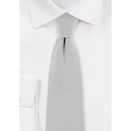 Silver Gray Cotton Skinny Tie