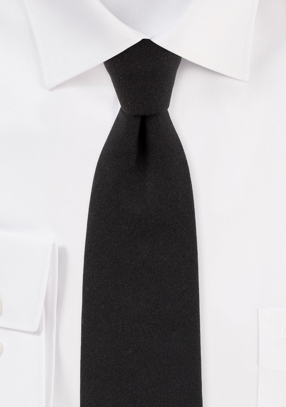 Matte Black Slim Cut Mens Tie in Cotton