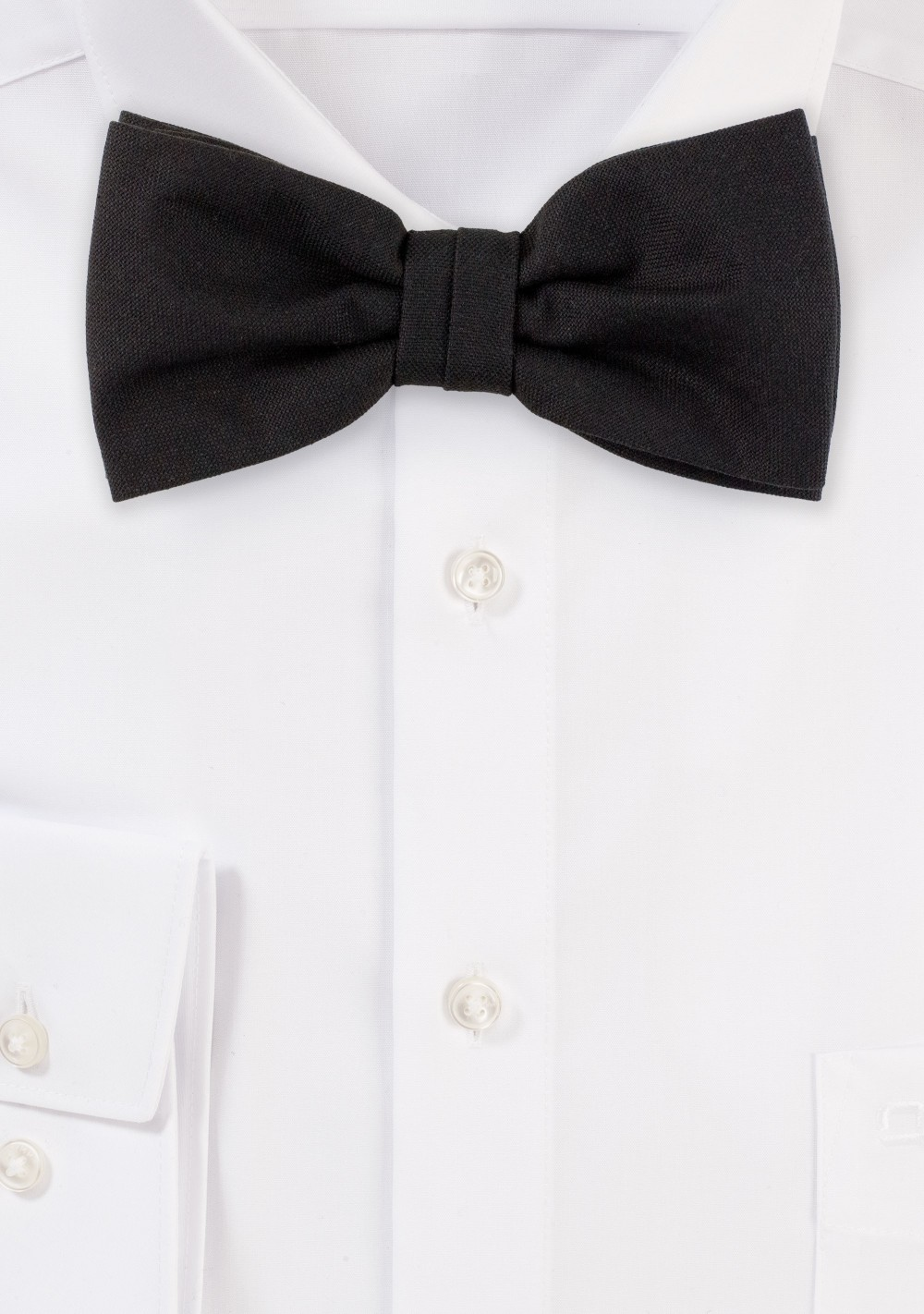 Matte Black Solid Color Bow Tie