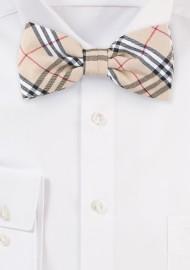 Designer Tartan Bow Tie in Tan