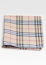 Designer Tartan Pocket Square in Tan