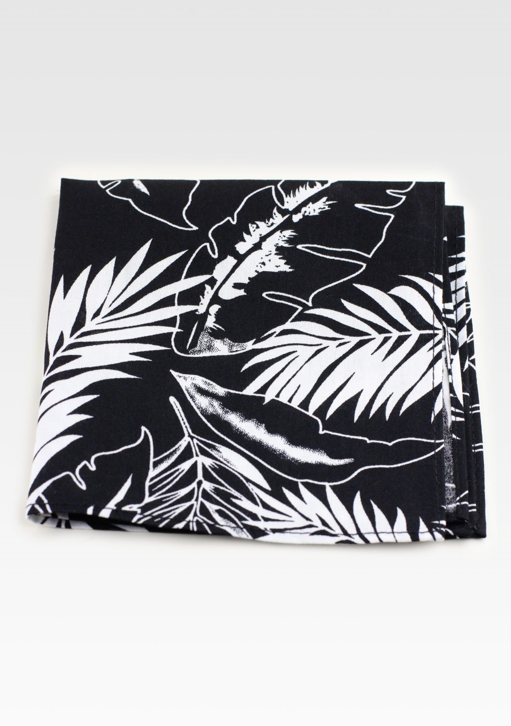 Cotton Hanky in Black and White with Palm Leaf Print