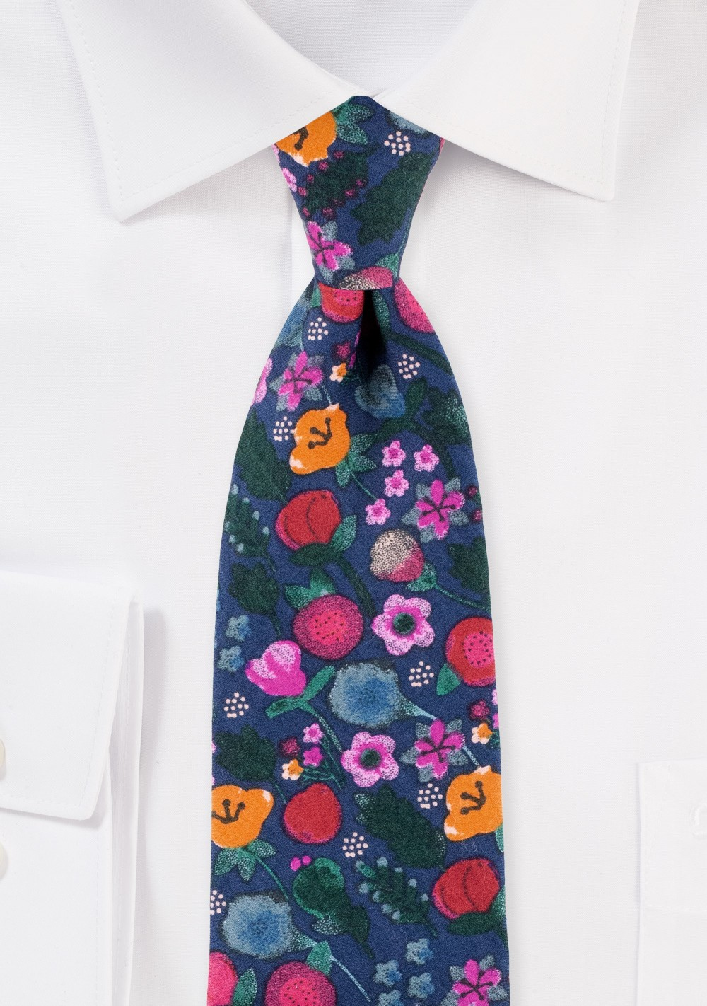 Colorful Floral Tie in Matte Printed Cotton