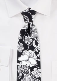 Black and White Bandana Floral Paisley Tie