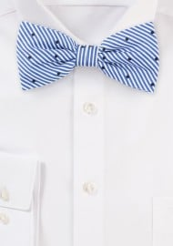Blue and White Striped Bow Tie in Cotton