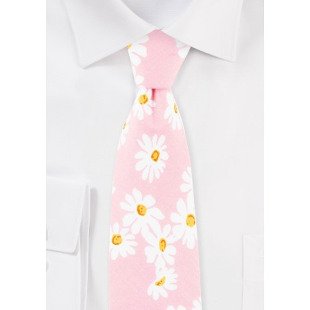 Pink and White Daisy Floral Tie in Cotton