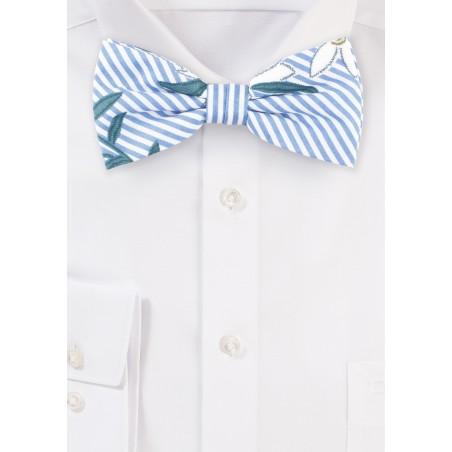 Floral Stripe Summer Bow Tie