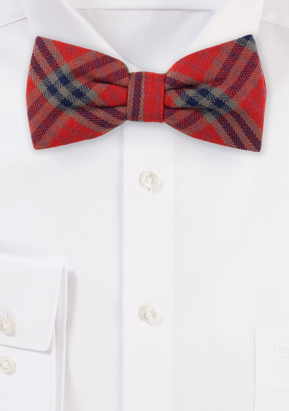 Tartan Plaid Bow Tie in Red and Olive