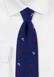 Necktie in Navy Anchor Print