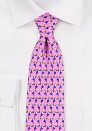 Summer Mens Tie in Pink with Fun Toucan Print