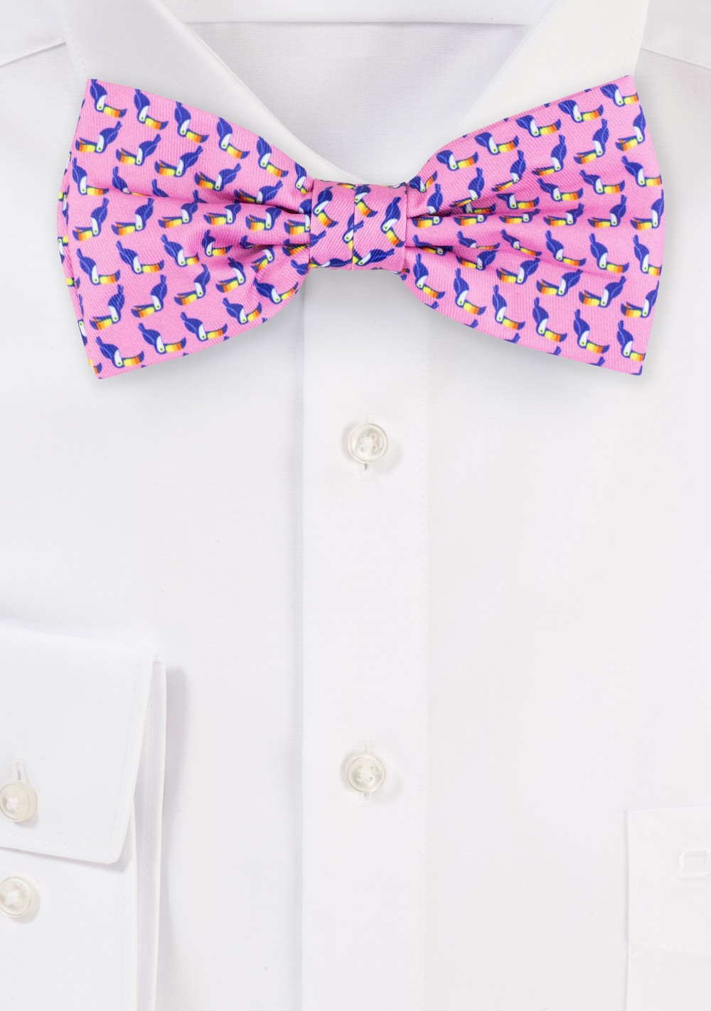 Pink Bow Tie with Toucan Designer Print
