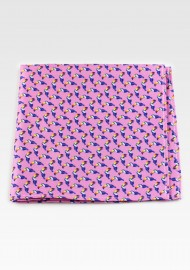 Pink Pocket Square with Toucan Print