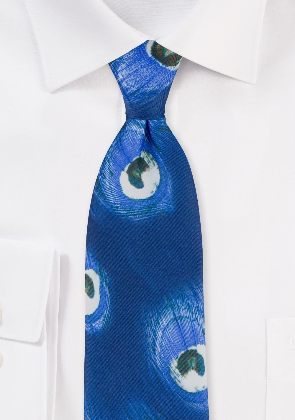Peacock Print Tie in Blues