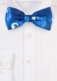 Blue Bow Tie with Peacock Feather Design Print