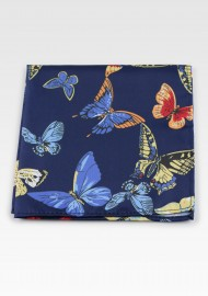 Navy Suit Hanky with Butterfly Print