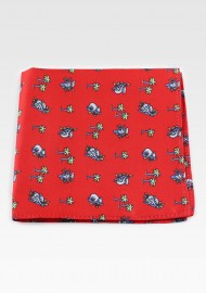 Red Pocket Square with Koala Bears