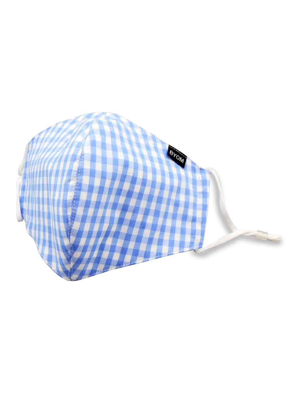 Gingham Check Cotton Mask in Light Blue