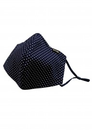 Navy and White Pin Dot Print Face Mask