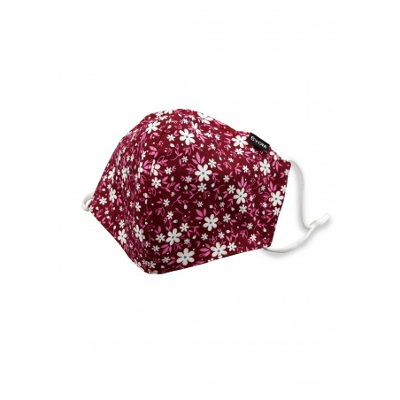 Wine Red and Pink Floral Face Mask
