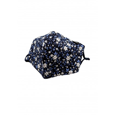 Fun Floral Print Filter Mask in Navy
