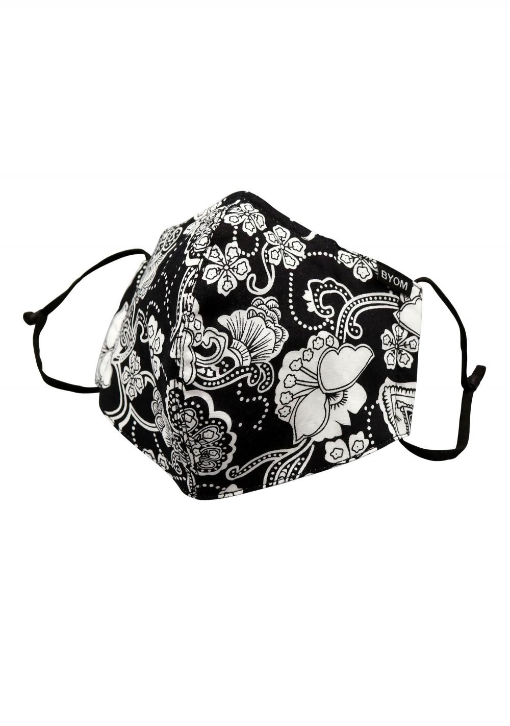 Black and White Bandana Paisley Face Mask