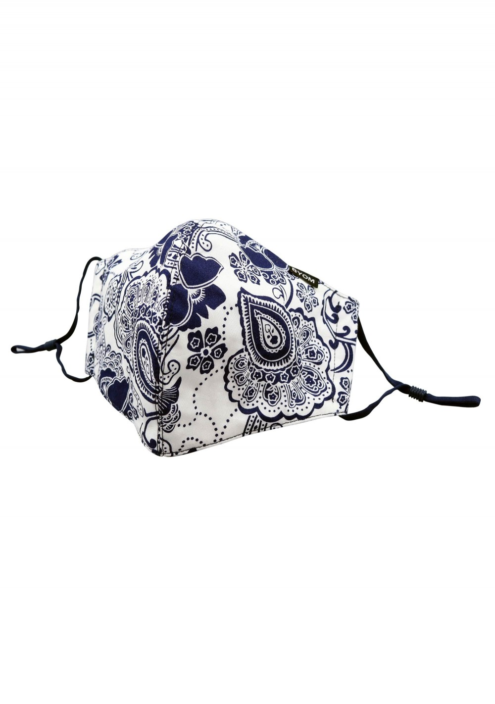 White and Navy Floral Paisley Cotton Filter Mask