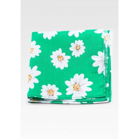 Daisy Print Pocket Square Hanky in Spring Green