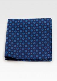 Hanky Pocket Square in Retro Blues Print