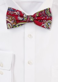 Red and Gold Paisley Bow Tie