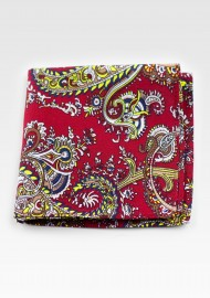 Red and Gold Paisley Pocket Square Hanky