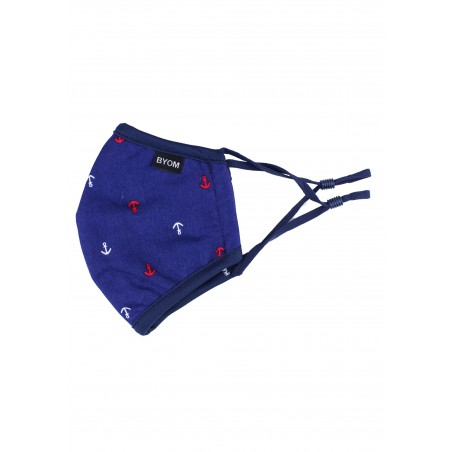 Kids Face Mask in Navy with Anchors
