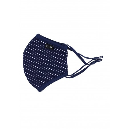 Navy Micro Dot Print Kids Mask