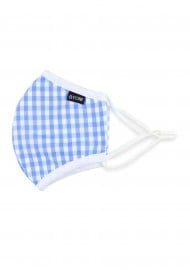 Light Blue Gingham Check Kids Face Mask