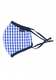 Sky Blue Gingham Check Kids Face Mask