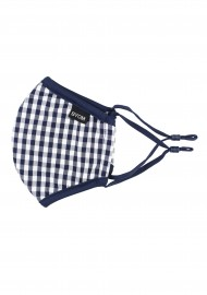 Navy Blue Gingham Face Mask for Kids