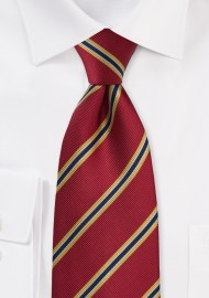 British Regimental Tie for Kids in Crimson-Red and Yellow