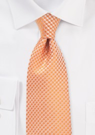 Houndstooth Checkered Kids Tie in Tangerine