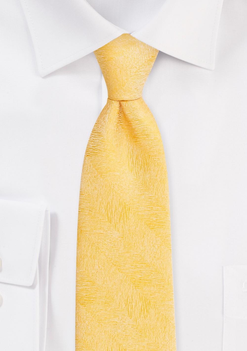 Wood Grain Weave Tie in Sunflower Yellow