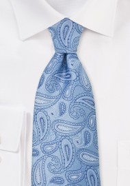 Light Blue Paisley Tie for Kids