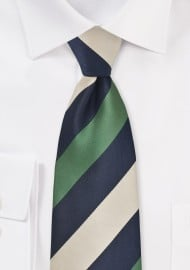 Navy, Tan, and Olive Striped Tie