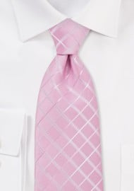 Pink Check Pattern Necktie