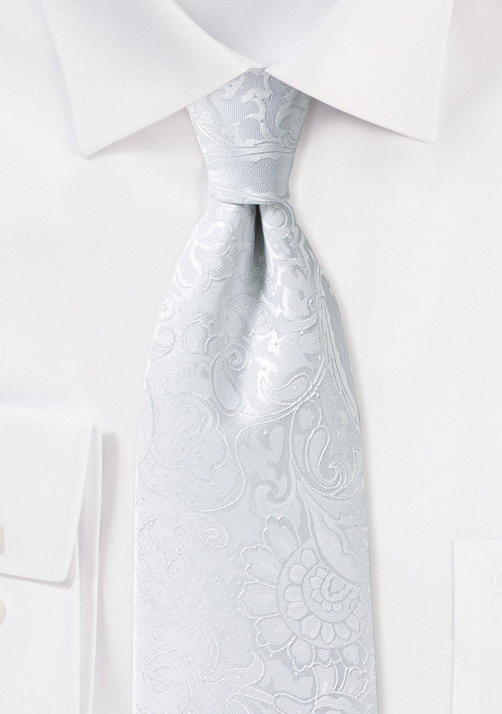 Bright White Paisley Necktie