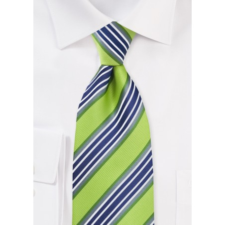 Lime and Navy Striped Tie in XL Length