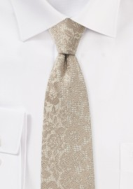 Champagne Skinny Floral Tie