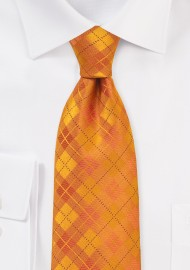 Bright Orange Kids Plaid Tie