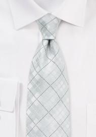 Modern White Plaid Tie for Kids