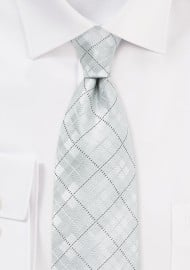 White and Platinum Tie with Check Design
