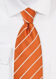 Kids Tie in Persimmon Orange White