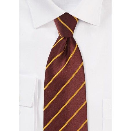 Cinnamon Color Extra Long Tie with Yellow Stripes